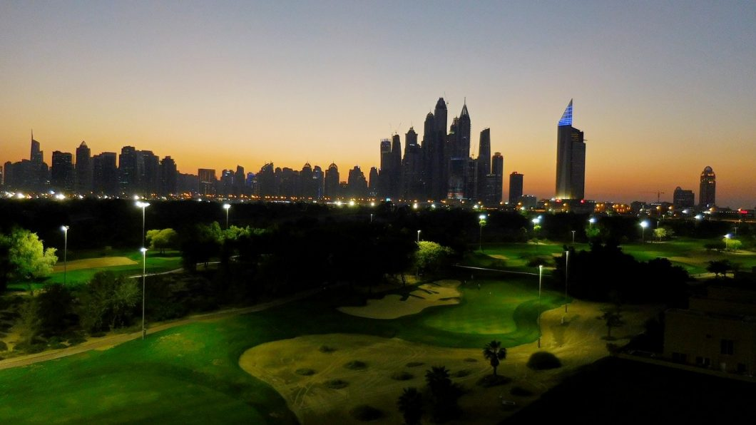 Dubai, the Greens, Featured image, dusk, golf field
